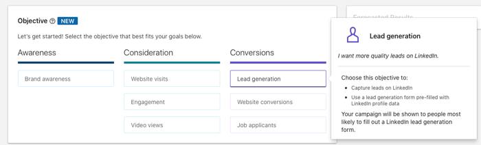 Linkedin Ads Goals