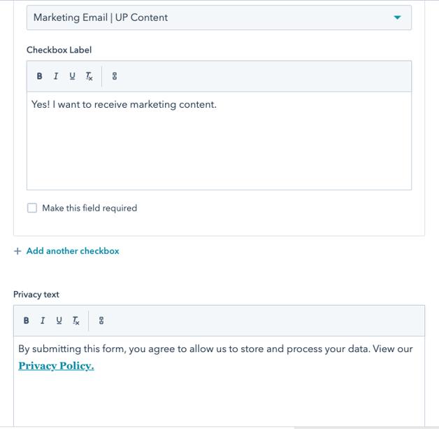 Hubspot GDPR content tool