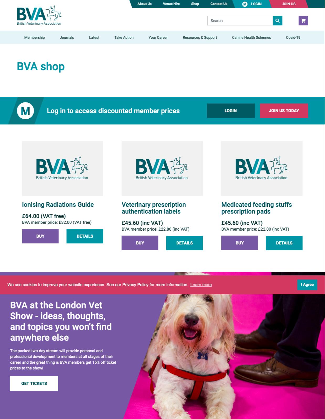 British Veterinarian Association ecommerce store London vet show