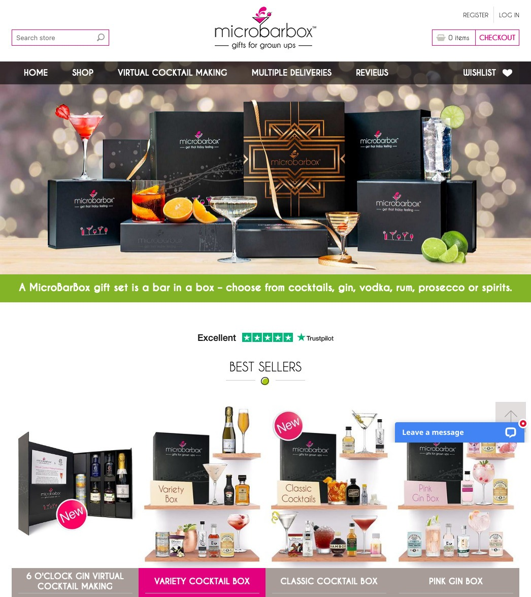 MicroBarBox cocktail and alcohol gift sets NopCommerce eCommerce