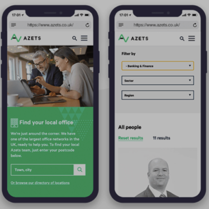 UX- and web-design for the Azets brand