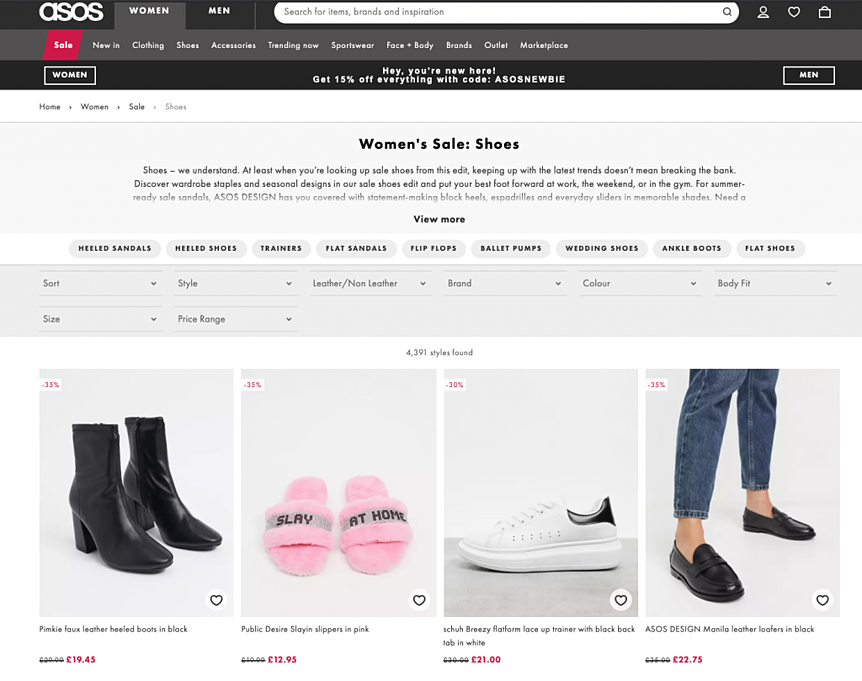 asos shows ecommerce page example