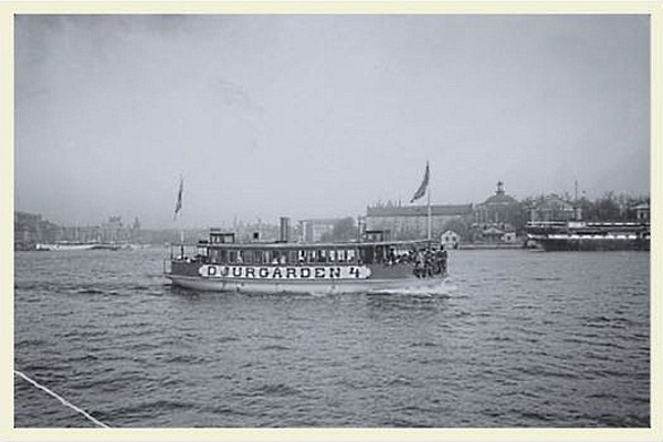 A Royal Djurgarden ferry.  Check out the typeface!