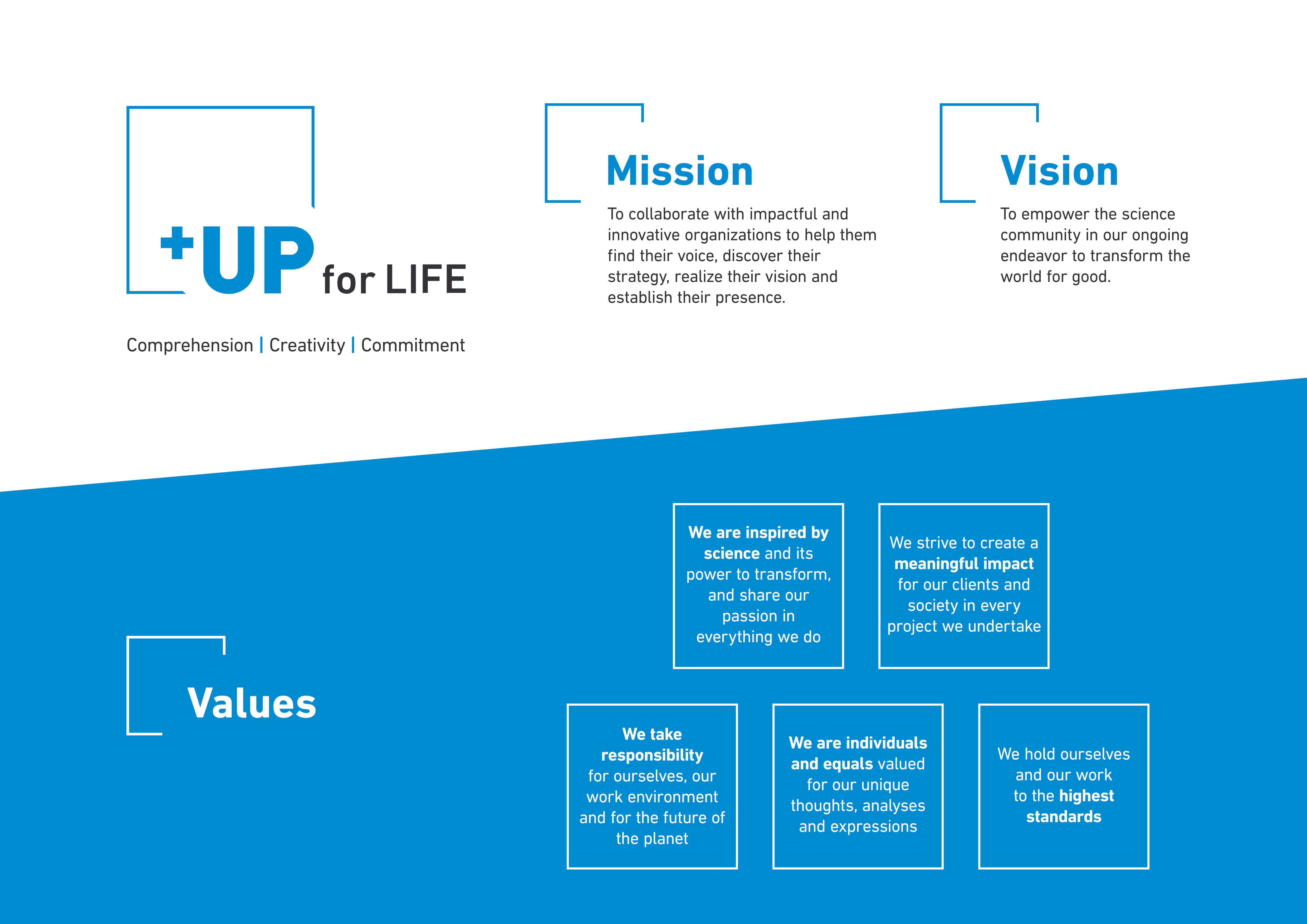 UP for life mission vision values)