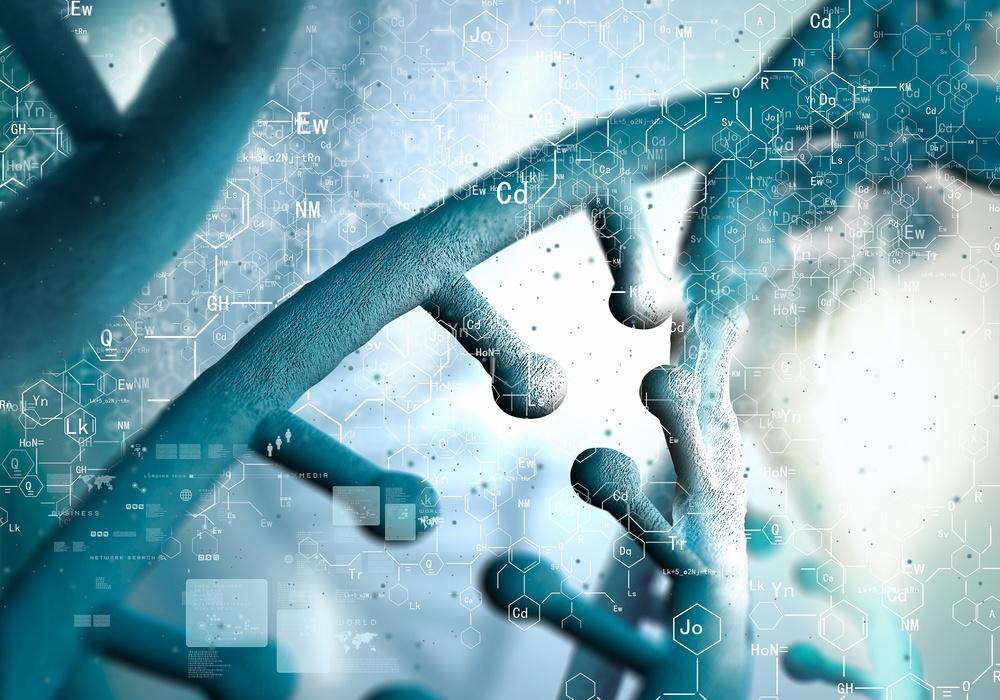 Biochemistry concept with digital blue DNA molecule
