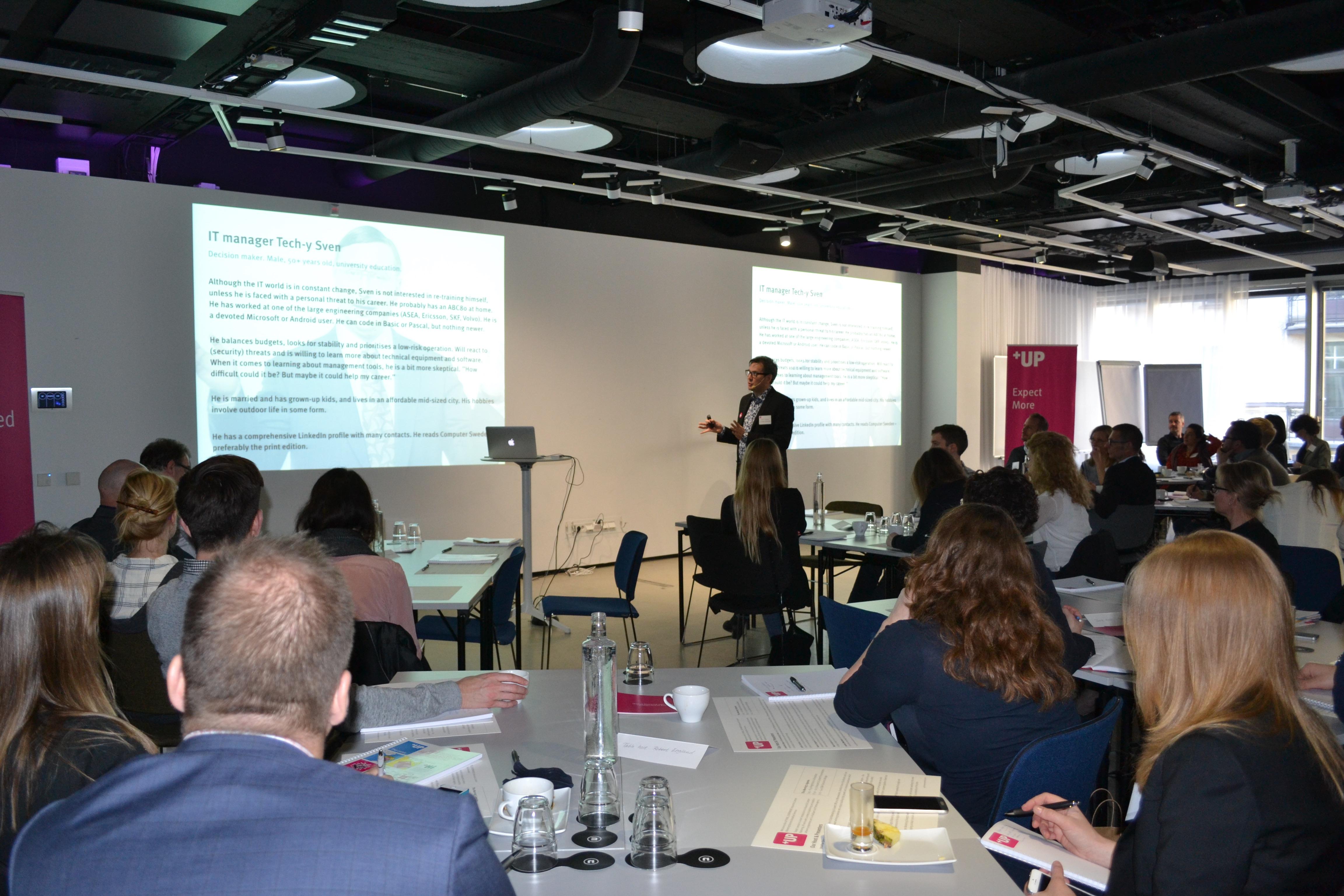 Robert England presenting a client workshop