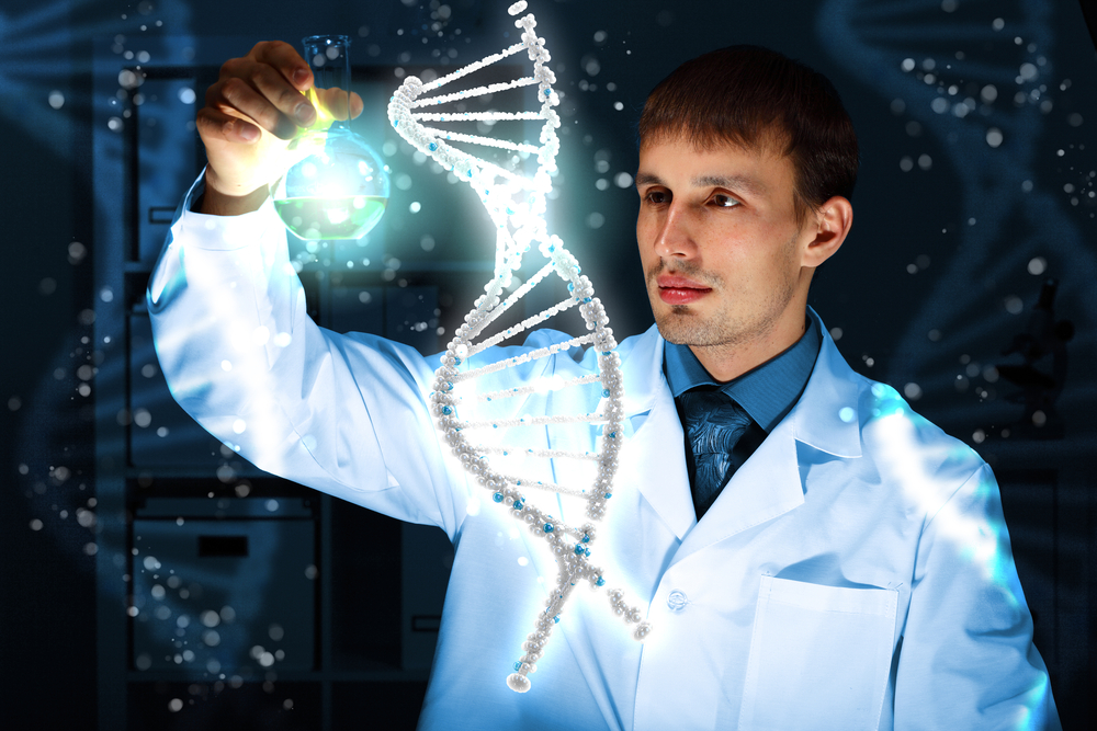 Image of DNA strand against colour background)